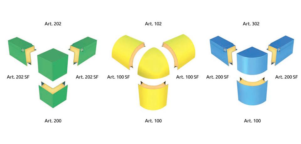 Raccordi d'angolo in polimero (retto, sferico e curvo)    Angle foam (curved and straight) - © Copyright Elcom System Spa - Tutti di diritti riservati / All rights reserved