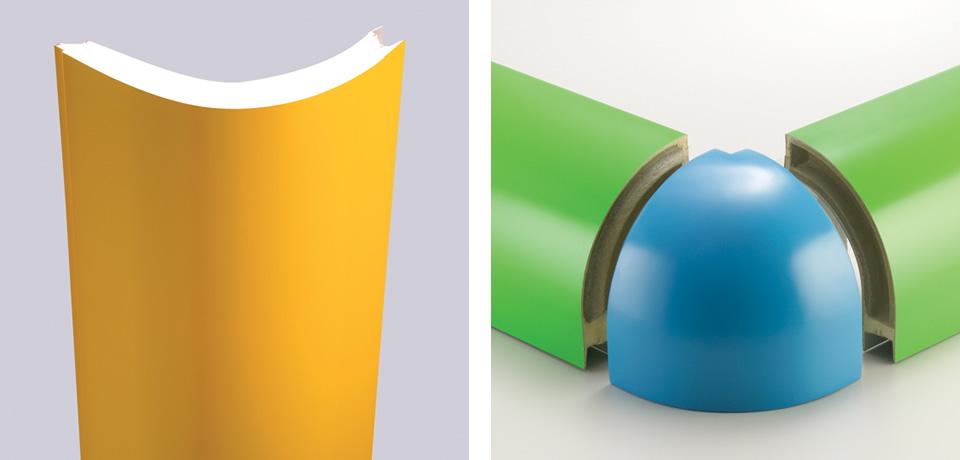 Angolo schiumato curvo   Vertical angle foam and curved glass joint corner polymer - © Copyright Elcom System Spa - Tutti di diritti riservati / All rights reserved